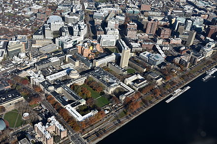 The central and eastern sections of MIT's campus as seen from above Massachusetts Avenue and the Charles River. Left of center is the Great Dome overlooking Killian Court, with Kendall Square to the upper right. MIT East Campus aerial.JPG