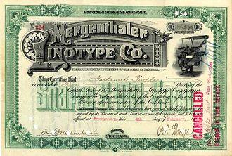 Mergenthaler Linotype Company - An 1896 Mergenthaler Linotype stock certificate