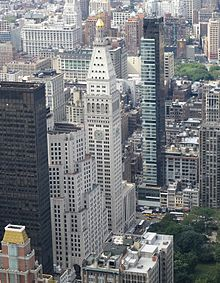 A view of several New York City buildings from the air, looking north from above approximately 20th Street.