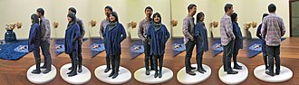3D body scanning - A 3D selfie in 1:20 scale printed by Shapeways using gypsum-based printing, from models reconstructed by Madurodam from 2D pictures of patrons taken at its Fantasitron photo booth.