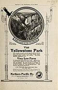 Magazine advertisements for tours to Yellowstone National Park on Northern Pacific Railway (1907) (14759508802).jpg