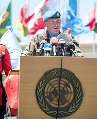 Major General Beary speaking in Lebanon as Force Commander of UNIFIL