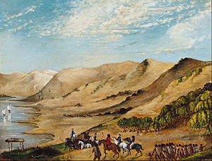Thomas Shuldham O'Halloran - Major O'Halloran's expedition to the Coorong, August 1840. Painting by unknown artist, held at the Art Gallery of South Australia.