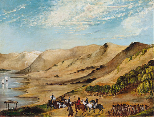 Major O'Halloran's expedition to the Coorong, August 1840. Painting by unknown artist, held at the Art Gallery of South Australia. Major O'Halloran's expedition to the Coorong, August 1840 - Google Art Project.jpg