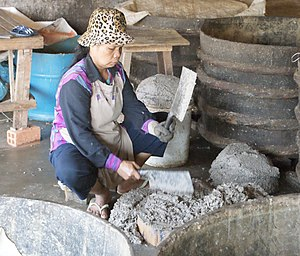 Fish paste - Making fish paste in Cambodia
