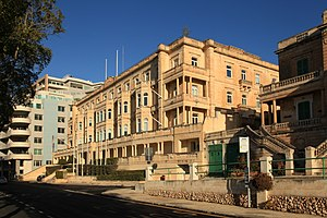 Maltese general election, 2017 - Whitehall Mansions in Ta' Xbiex, which among other tenants houses Pilatus Bank