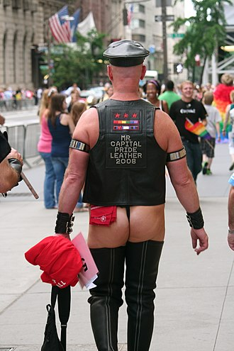Leather subculture - A man at the New York City Pride Parade in 2009, dressed in a leather vest and bottomless leather chaps.