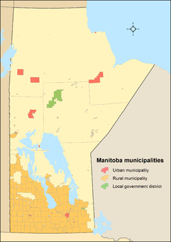 Map showing locations of all of Manitoba's municipalities
