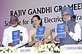 Manmohan Singh, the Chairperson, National Advisory Council, Smt. Sonia Gandhi and the Union Power Minister, Shri P.M. Sayeed at the launch of Rajiv Gandhi Grameen Vidyutikaran Yojana in New Delhi on April 4, 2005.jpg