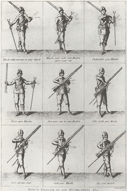 Drill manual for musketeers Manual of the Musketeer, 17th Century.jpg