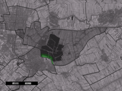 The village centre (dark green) and the statistical district (light green) of Platteweg in the municipality of Reeuwijk.