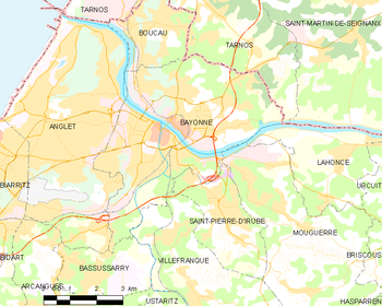 Map of the commune of Bayonne