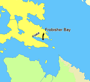 Frobisher Bay - Image: Map indicating Frobisher Bay, Nunavut, Canada
