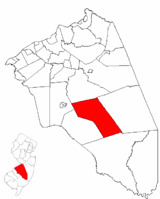Tabernacle Township highlighted in Burlington County. Inset map: Burlington County highlighted in the State of New Jersey.
