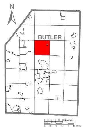 Clay Township, Butler County, Pennsylvania - Image: Map of Clay Township, Butler County, Pennsylvania Highlighted