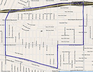 Jefferson Park, Los Angeles - Map of  Jefferson Park boundaries as delineated by the Los Angeles Times