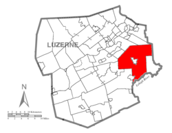 Map of Luzerne County highlighting Bear Creek Township