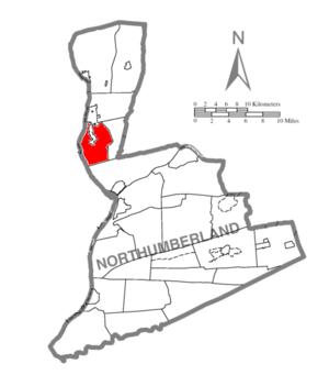 West Chillisquaque Township, Northumberland County, Pennsylvania - Image: Map of Northumberland County Pennsylvania Highlighting West Chillisquaque Township
