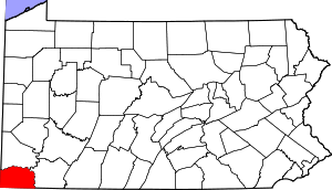 Map of Pennsylvania highlighting Greene County