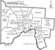 Municipalities and townships of Scioto County.