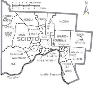 Scioto County, Ohio - Map of Scioto County, with municipal and township labels