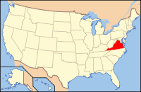 Map of the U.S. highlighting Virginia