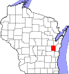 State map highlighting Calumet County