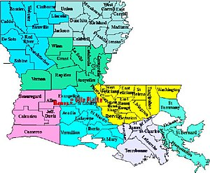 Southwest Louisiana - Southwest Louisiana subregion highlighted in pink.