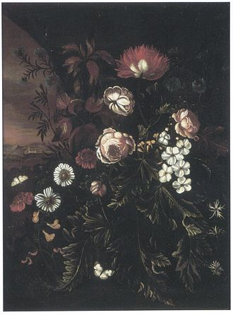 Maria Withoos - Flowers in a landscape, ca. 1700