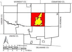 Location of Marion Township (red) in Marion County, surrounding the city of Marion (yellow)