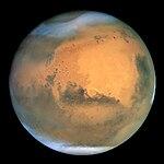 Mars som har set igennem Rumteleskopet Hubble.
