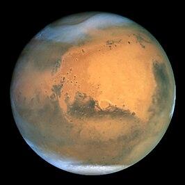 Foto van Mars gemaakt door de Ruimtetelescoop Hubble in 2001 (NASA)