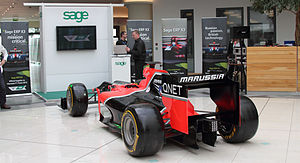 Sage Group - A Marussia F1 promotional car on display in Sage's Newcastle headquarters.