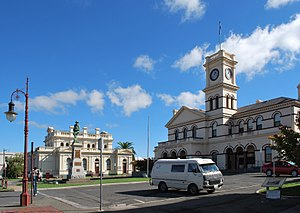 Maryborough, Victoria - McLandress Square, with the post office and court house