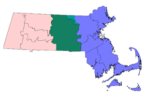 Outline of Massachusetts - Massachusetts with three major regions highlighted: Central Massachusetts in green and teal (used to show towns in Middlesex County), Eastern Massachusetts in blue and Western Massachusetts in light red.