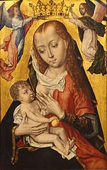 Crowning of Maria and child by two angels