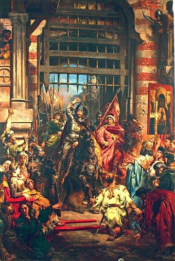 Boleslaw I of Poland and Sviatopolk the Accursed at Kiev, in a legendary moment of hitting the Golden Gate with the Szczerbiec sword. Painting by Jan Matejko Matejko-chrobry at Kiev (Kijow).jpg