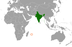 Map indicating locations of India and Mauritius