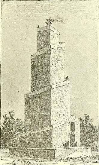 Minar (Firuzabad) - An 1889 artistic impression of the Minar as a fire temple, with the outer stairs reconstructed and the Holy Fire (atar) at its top
