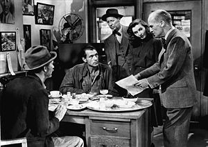Irving Bacon - From Meet John Doe (1941), L-R: Walter Brennan, Gary Cooper, Irving Bacon, Barbara Stanwyck and James Gleason