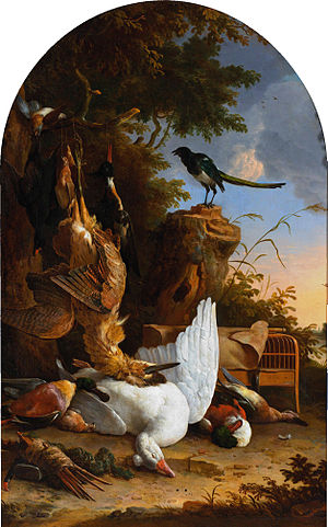 Melchior d'Hondecoeter - Hunting trophies at a magpie on a tree stump, Rijksmuseum, Amsterdam