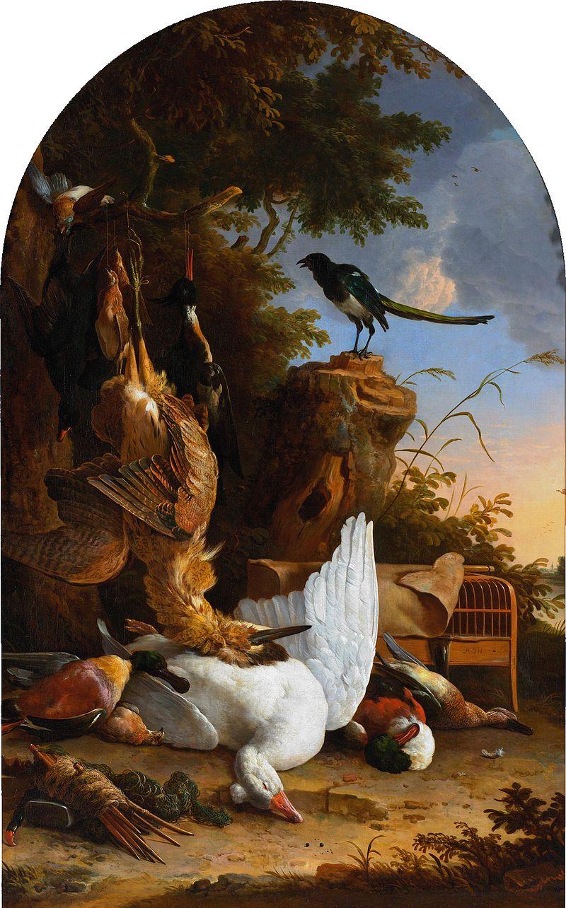 Melchior d'Hondecoeter - Jachtbuit bij een ekster op een boomstronk 1660 - 1695.jpg