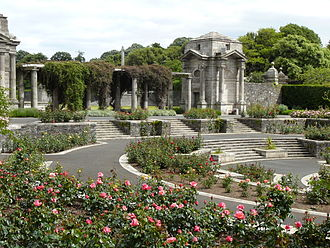 Circular Sunken Rose Garden In Side View, Showing One Of Four Granite  Bookrooms