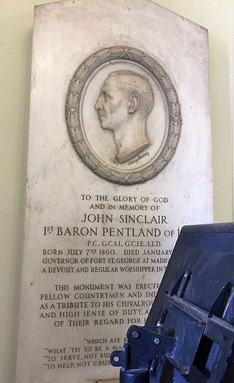John Sinclair, 1st Baron Pentland - Memorial to John Sinclair, Baron Pentland, at the St Andrew's Kirk, Madras