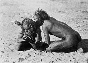 Kurdaitcha - Aluridja men using a pointing bone