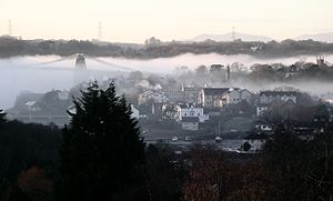 Menai Bridge - Image: Menai bridge mist November 2004