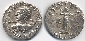 "Menander I - 2. Silver drachm of Menander I (155-130 BC). Obv: Greek legend, ΒΑΣΙΛΕΩΣ ΣΩΤΗΡΟΣ ΜΕΝΑΝΔΡΟΥ (BASILEOS SOTEROS MENANDROU) lit. ""Of Saviour King Menander"".  Rev: Kharosthi legend: MAHARAJASA TRATARASA MENAMDRASA ""Saviour King Menander"". Athena advancing right, with thunderbolt and shield. Taxila mint mark."