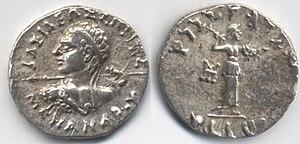 Серебранная драхма царя Менандра I: BASILEOS SOTHROS MENANDROY lit. «Saviour King Menander».