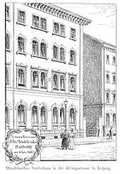 Mendelssohns Wohn- und Sterbehaus, Königstraße (jetzt Goldschmidtstraße) 12 in Leipzig, um 1900 (Quelle: Wikimedia)