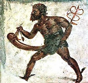 Phallus - Mural of Priapus depicted with the attributes of Mercury in a fresco found in Pompeii